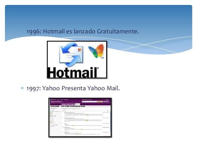  1996: Hotmail es lanzado Gratuitamente.   1997: Yahoo Presenta Yahoo Mail.