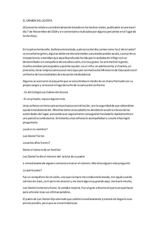 EL CRIMEN DEL LICEÍSTA  (El presente relato es una dramatización basado en los hechos reales, publicados en prensa el  día...