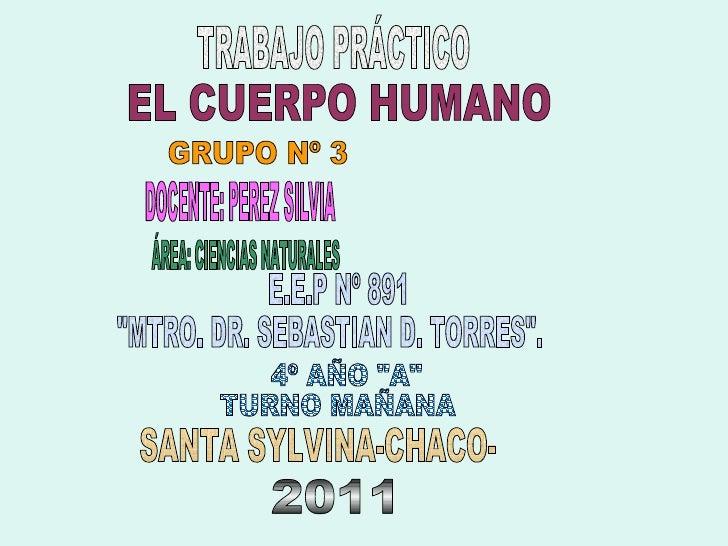 "TRABAJO PRÁCTICO EL CUERPO HUMANO E.E.P Nº 891 ""MTRO. DR. SEBASTIAN D. TORRES"". 4º AÑO ""A"" TURNO MAÑAN..."