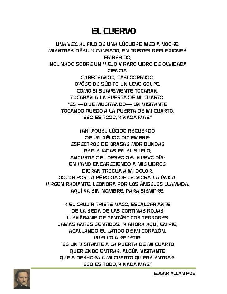 EL CUERVO<br />UNA VEZ, AL FILO DE UNA LÚGUBRE MEDIA NOCHE,MIENTRAS DÉBIL Y CANSADO, EN TRISTES REFLEXIONES EMBEBIDO,INCLI...