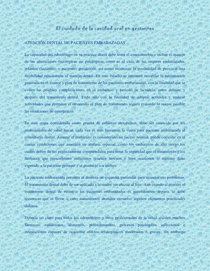 El cuidado de la cavidad oral en gestantes<br />ATENCIÓN DENTAL DE PACIENTES EMBARAZADAS<br />La capacidad del odontólogo ...
