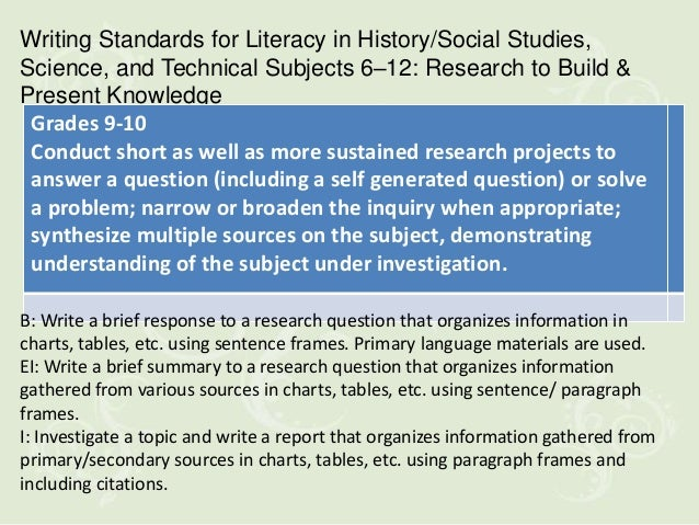Writing Standards for Literacy in History/Social Studies,Science, and Technical Subjects 6–12: Research to Build &Present ...