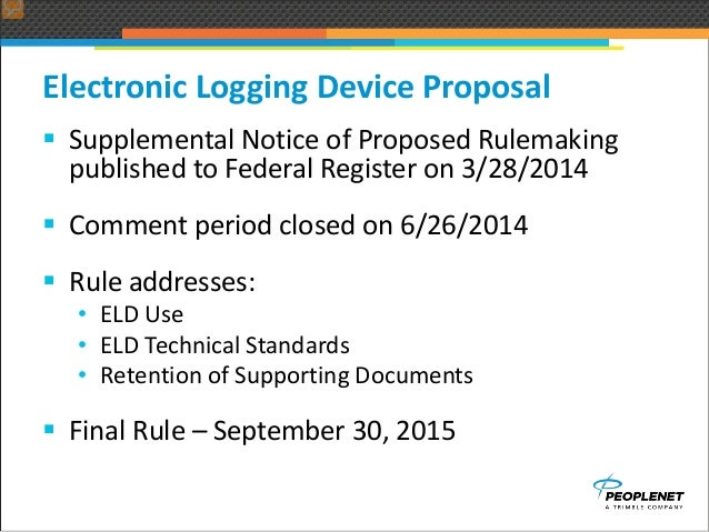 Elds And Hours Of Service Fta Peoplenet