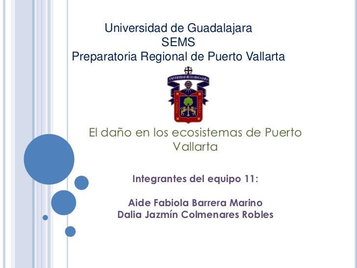 Universidad de Guadalajara SEMSPreparatoria Regional de Puerto Vallarta <br />El daño en los ecosistemas de Puerto Vallart...