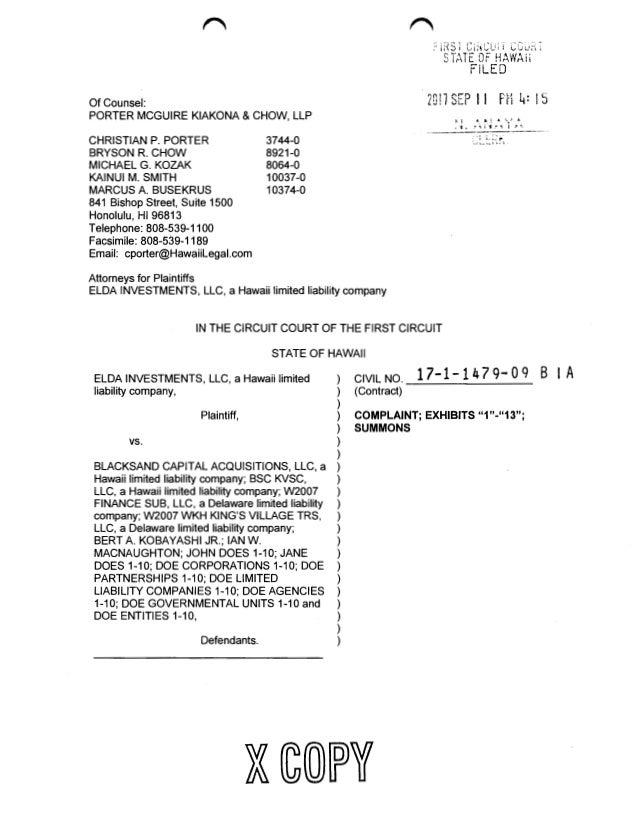 Of Counsel: PORTER MCGUIRE KIAKONA & CHOW, LLP CHRISTIAN P. PORTER BRYSON R. CHOW MICHAEL G. KOZAK KAINUI M. SMITH MARCUS ...