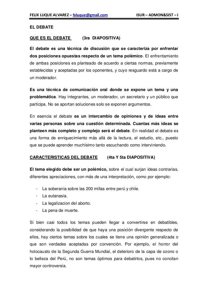 FELIX LUQUE ALVAREZ – fxluque@gmail.com                   ISUR – ADMON&SIST – IEL DEBATEQUE ES EL DEBATE             (3ra ...