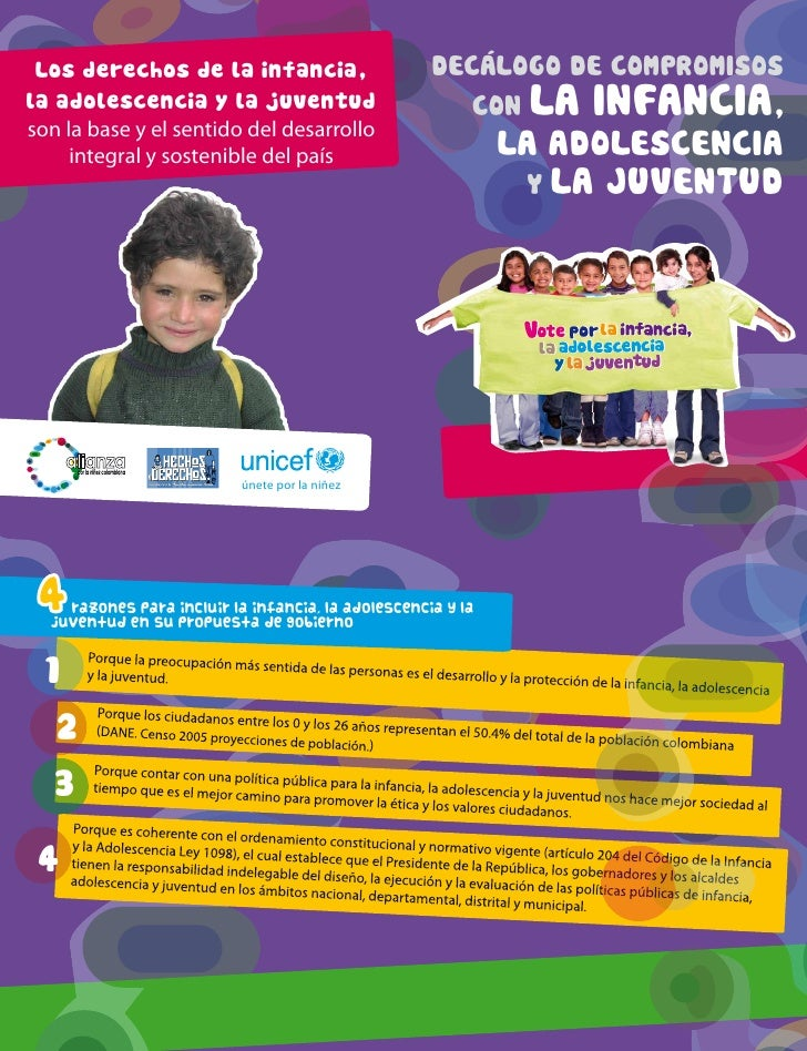 Los derechos de la infancia,                       DECALOGO DE COMPROMISOSla adolescencia y la juventud                   ...