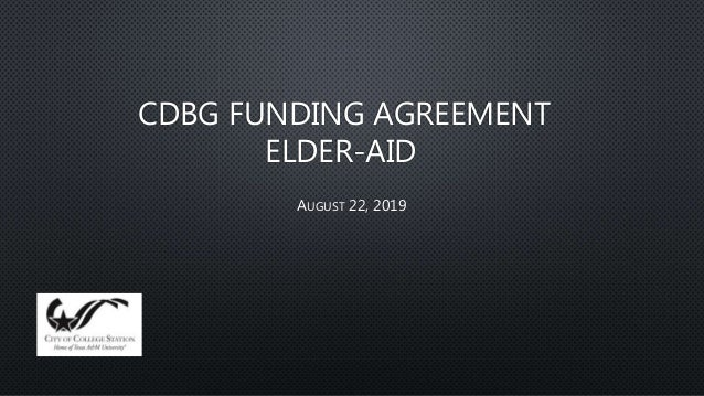 CDBG FUNDING AGREEMENT ELDER-AID AUGUST 22, 2019