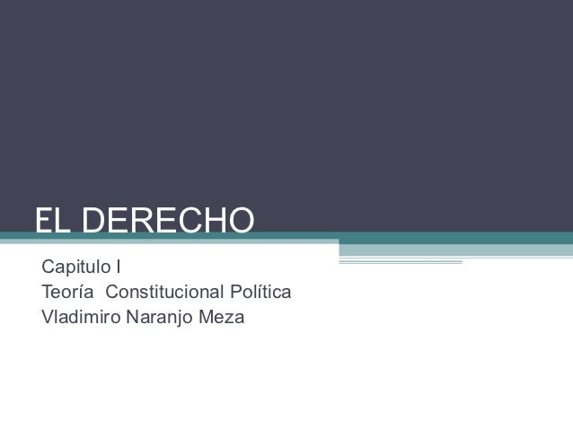 EL DERECHOCapitulo ITeoría Constitucional PolíticaVladimiro Naranjo Meza