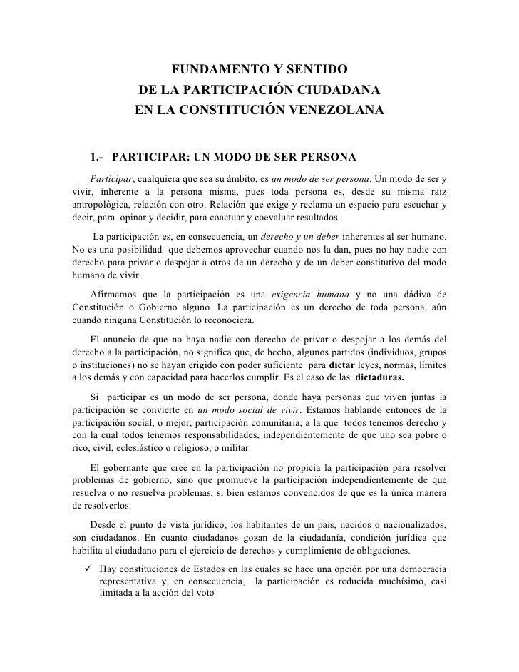 FUNDAMENTO Y SENTIDO             DE LA PARTICIPACIÓN CIUDADANA             EN LA CONSTITUCIÓN VENEZOLANA                  ...
