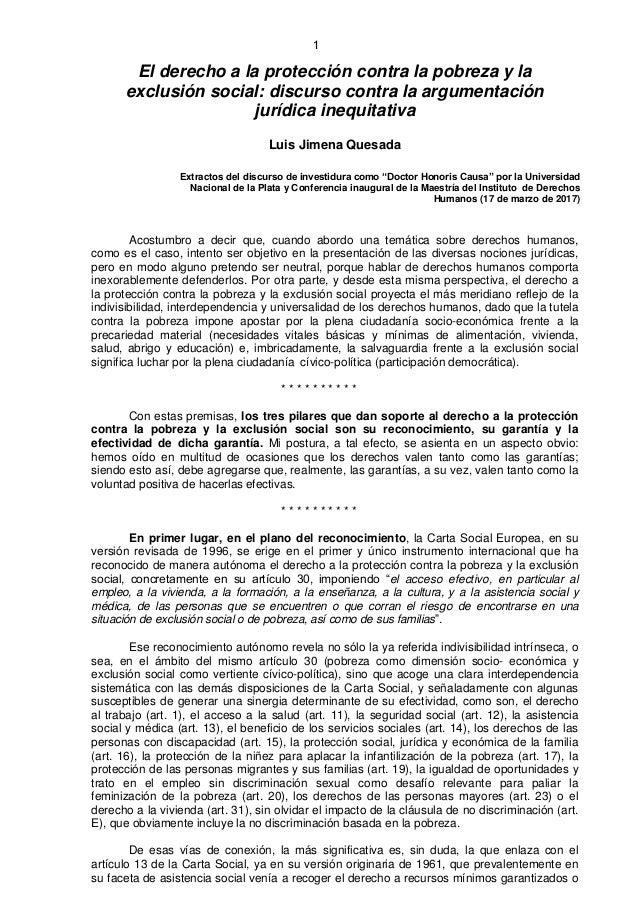 1 El derecho a la protección contra la pobreza y la exclusión social: discurso contra la argumentación jurídica inequitati...