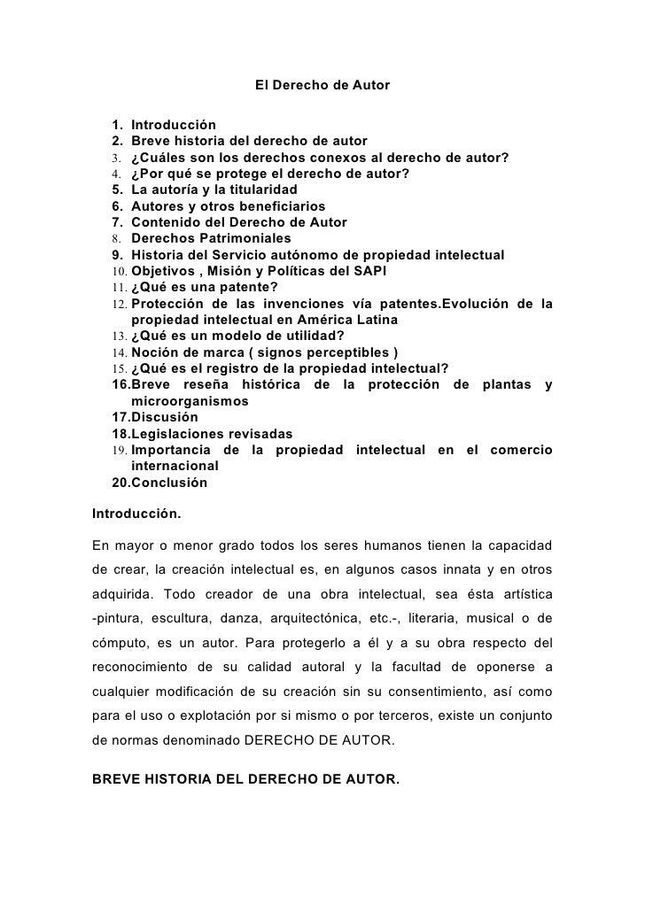El Derecho de Autor   1. Introducción   2. Breve historia del derecho de autor   3. ¿Cuáles son los derechos conexos al de...