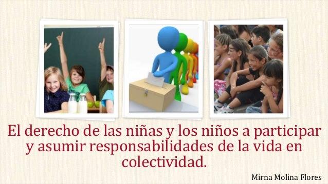 El derecho de las niñas y los niños a participar y asumir responsabilidades de la vida en colectividad. Mirna Molina Flores