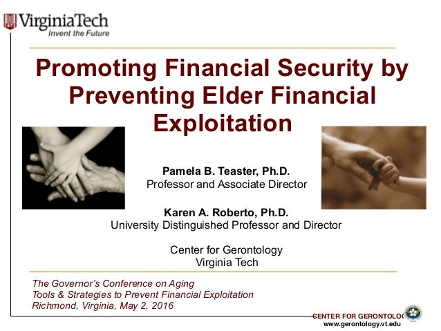 CENTER FOR GERONTOLOGY www.gerontology.vt.edu 