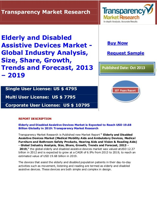 REPORT DESCRIPTION Elderly and Disabled Assistive Devices Market is Expected to Reach USD 19.68 Billion Globally in 2019: ...