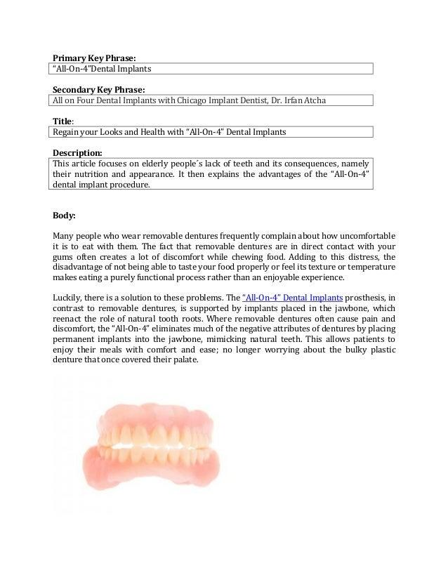 "Primary Key Phrase: ""All-On-4""Dental Implants Secondary Key Phrase: All on Four Dental Implants with Chicago Implant Denti..."