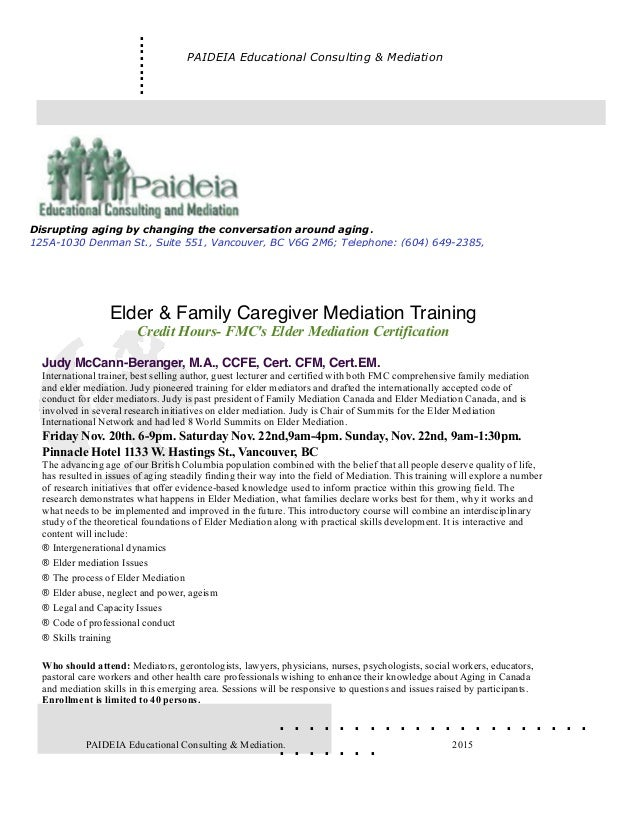 Elder mediation training
