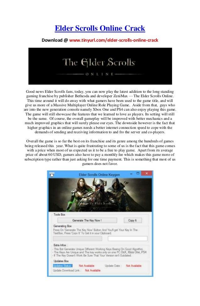 Elder Scrolls Online Crack Download @ www.tinyurl.com/elder-scrolls-online-crack Good news Elder Scrolls fans, today, you ...