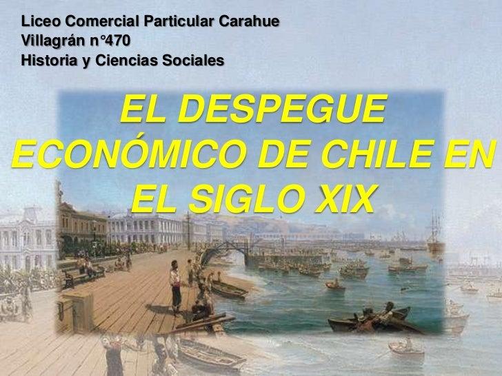 Liceo Comercial Particular CarahueVillagrán n°470Historia y Ciencias Sociales    EL DESPEGUEECONÓMICO DE CHILE EN    EL SI...
