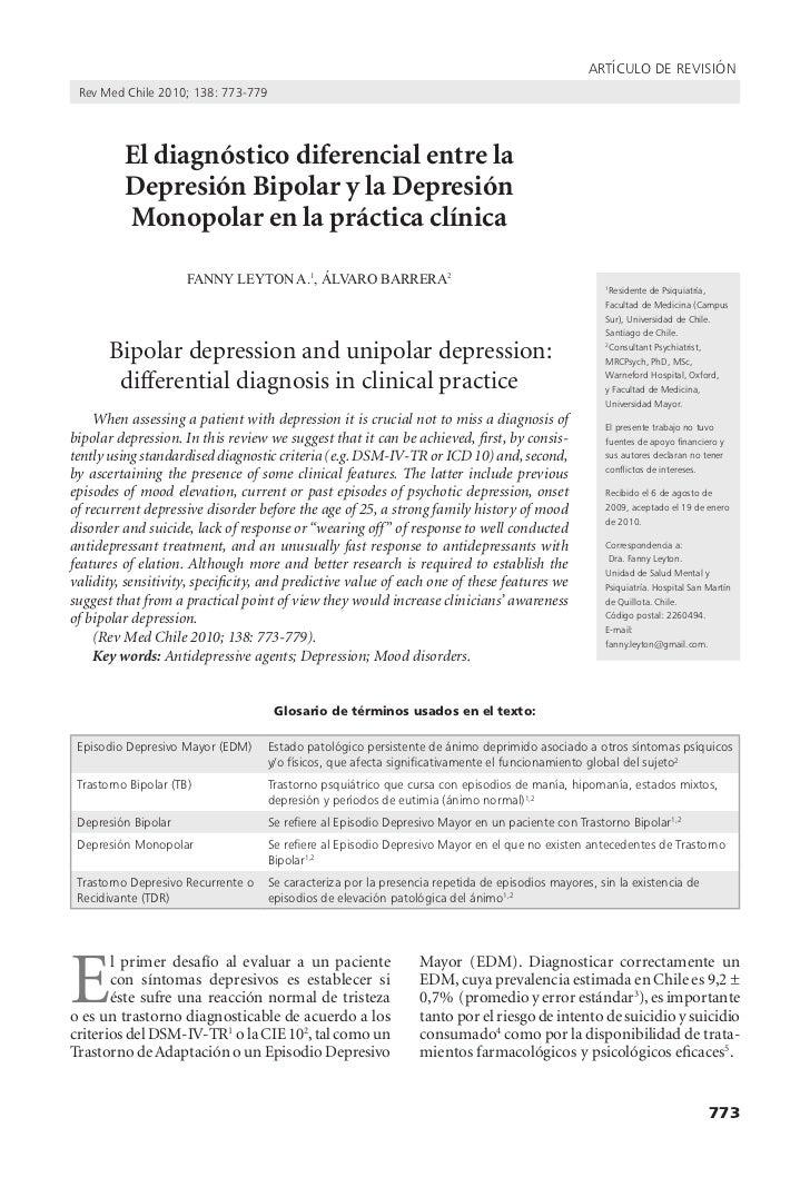 artículo de revisión rev Med chile 2010; 138: 773-779          El diagnóstico diferencial entre la          Depresión Bipo...
