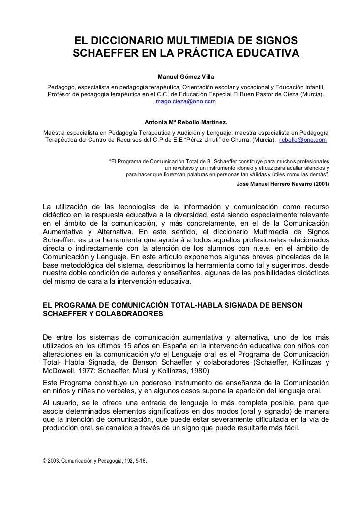 EL DICCIONARIO MULTIMEDIA DE SIGNOS            SCHAEFFER EN LA PRÁCTICA EDUCATIVA                                         ...