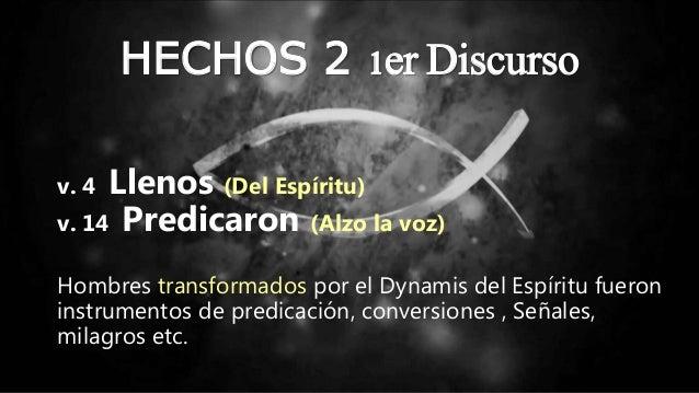 HECHOS 2 1er Discurso v. 4 Llenos (Del Espíritu) v. 14 Predicaron (Alzo la voz) Hombres transformados por el Dynamis del E...