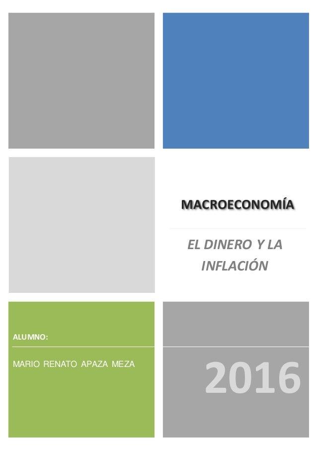 MACROECONOMÍA MARIO RENATO APAZA MEZA 2016 ALUMNO: EL DINERO Y LA INFLACIÓN
