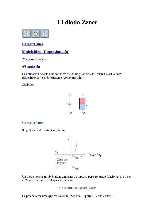 El diodo ZenerCaracterísticaModelo ideal (1ª aproximación)2ª aproximación  SimulaciónLa aplicación de estos diodos se ve e...