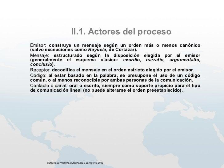 II.1. Actores del procesoEmisor: construye un mensaje según un orden más o menos canónicoEmisor(salvo excepciones como Ray...
