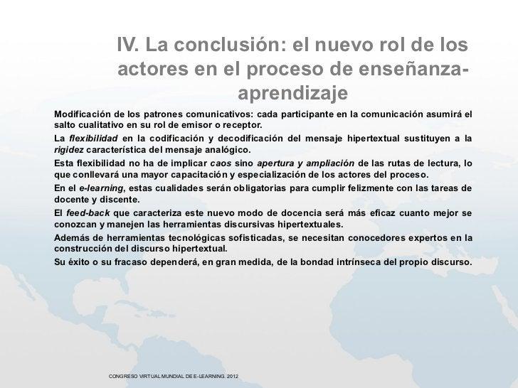 IV. La conclusión: el nuevo rol de los              actores en el proceso de enseñanza-                           aprendiz...
