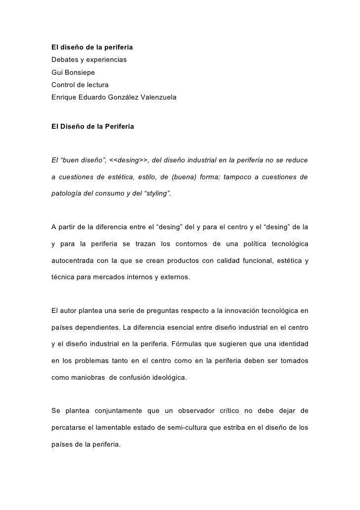 El diseño de la periferiaDebates y experienciasGui BonsiepeControl de lecturaEnrique Eduardo González ValenzuelaEl Diseño ...