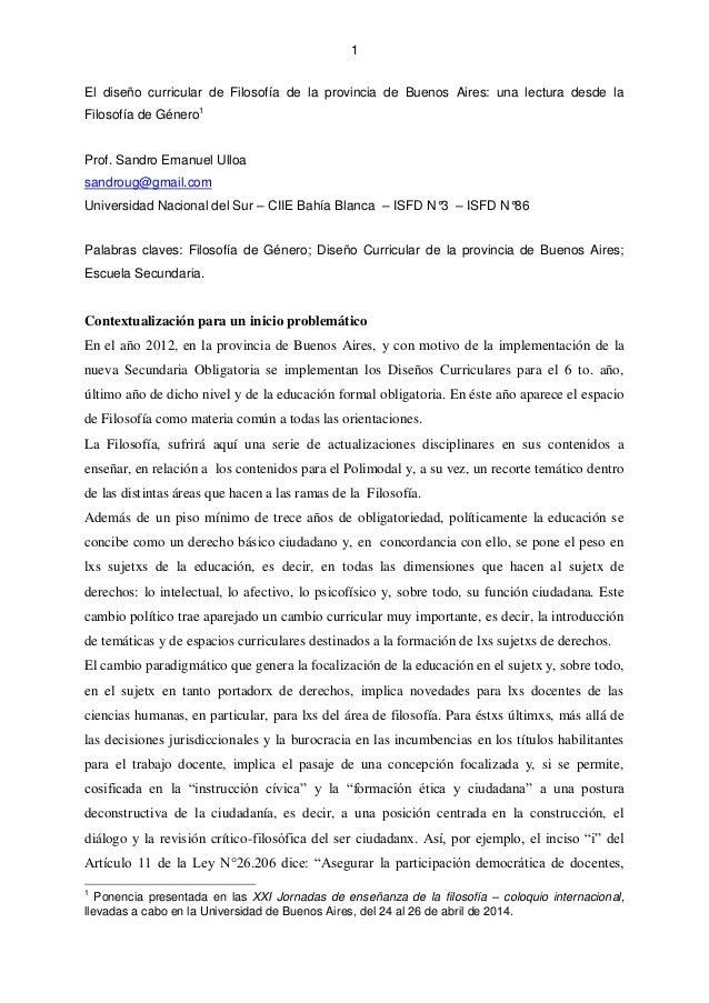 El Diseño Curricular De Filosofía De La Provincia De Buenos