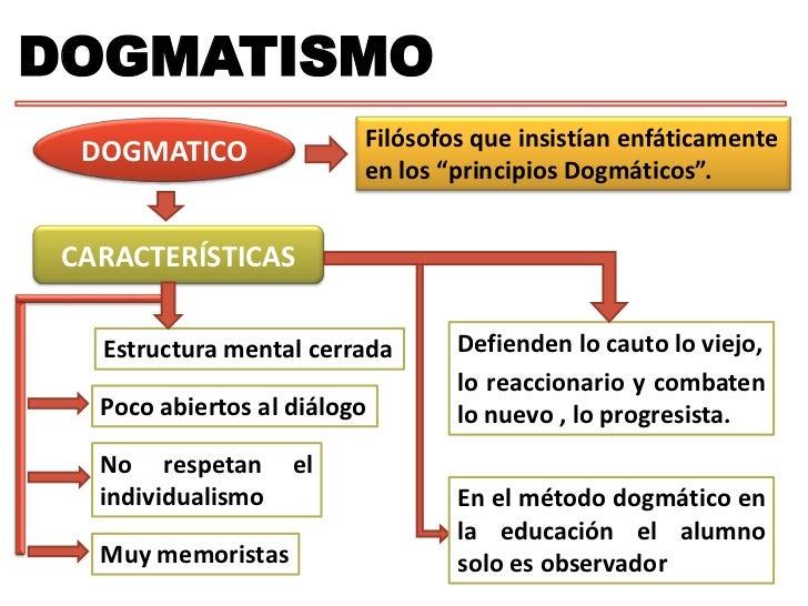 """DOGMATISMO<br />Filósofos que insistían enfáticamente en los """"principios Dogmáticos"""".<br />DOGMATICO<br />CARACTERÍSTICAS<..."""