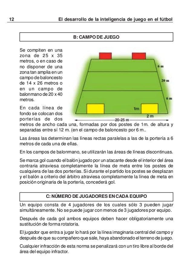 13El desarrollo de la inteligencia de juego en el fútbolD: DURACIÓN DEL PARTIDOTres tiempos de 10 minutos cuando se juega ...