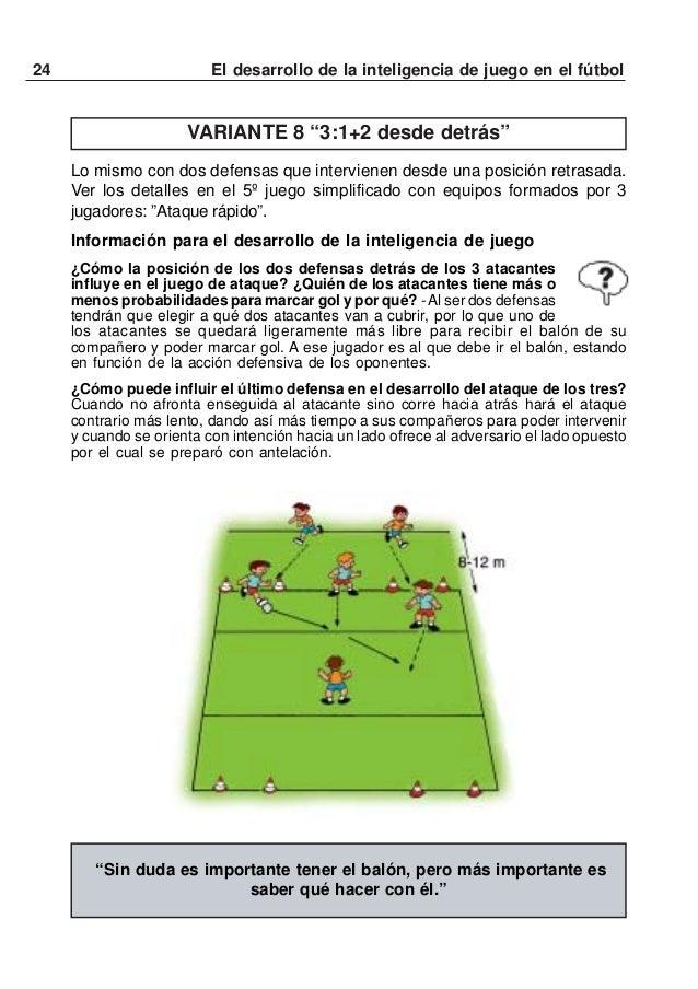 25El desarrollo de la inteligencia de juego en el fútbolJUEGOS 3:2Varios equipos de 3 atacantes salen uno tras otro para s...