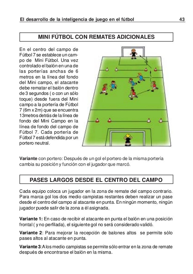 44 El desarrollo de la inteligencia de juego en el fútbolVariante 4: El único jugador que no puede marcar gol es el atacan...