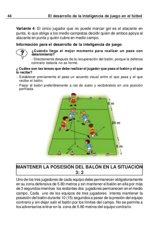45El desarrollo de la inteligencia de juego en el fútbolSi la situación del juego lo recomienda, el jugador en la zona de ...