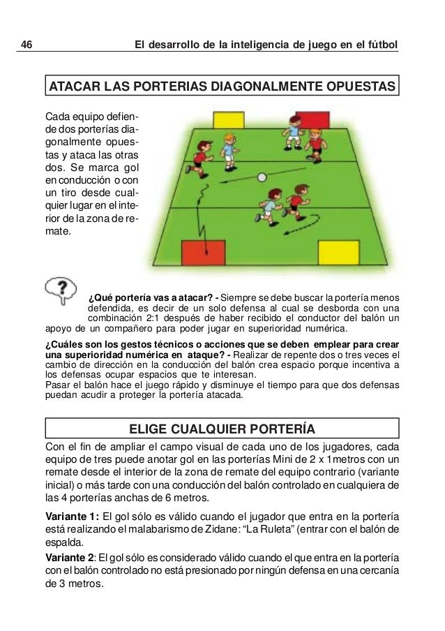 47El desarrollo de la inteligencia de juego en el fútbolVariante 3: Cada equipo tiene 2 veces 5 posesiones del balón. Un e...