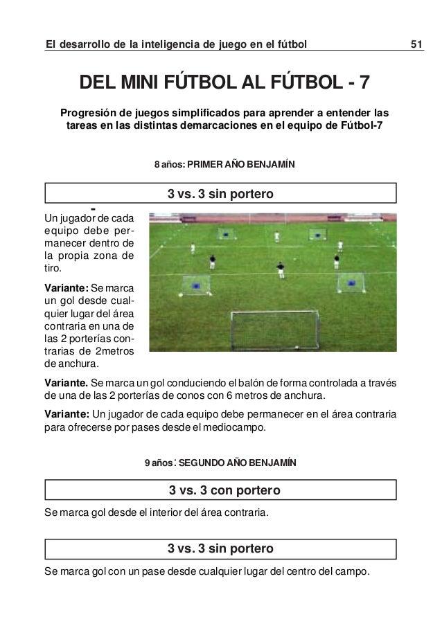 52 El desarrollo de la inteligencia de juego en el fútbol3 vs. 3 con porteroSe marca gol con un pase desde cualquier lugar...