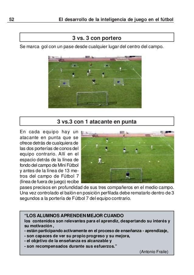 53El desarrollo de la inteligencia de juego en el fútbol3 vs. 3 con 2 atacantes en punta y un defensa entre ellosSe juega ...