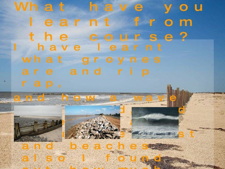 What have you learnt from the course? <ul><li>I have learnt what groynes are and rip rap, </li></ul><ul><li>and how a wave...
