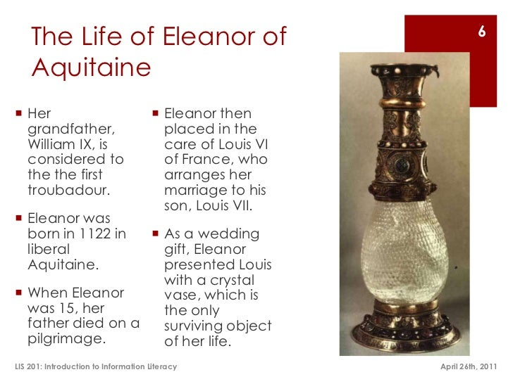 an introduction to the life of eleanor aquitaine Find out more about the history of eleanor of aquitaine, including videos, interesting articles eleanor of aquitaine: early life eleanor of aquitaine is said to be responsible for the introduction of built-in fireplaces.