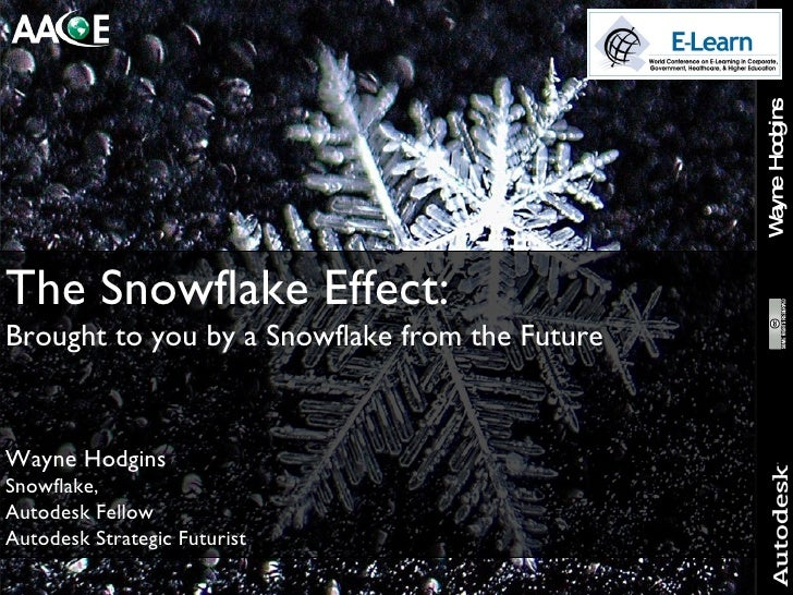 The Snowflake Effect:  Brought to you by a Snowflake from the Future Wayne Hodgins Snowflake, Autodesk Fellow Autodesk Str...