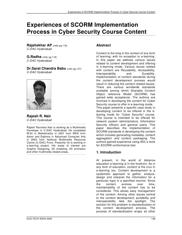 Experiences of SCORM Implementation Process in Cyber Security Course Content     Experiences of SCORM Implementation Proce...
