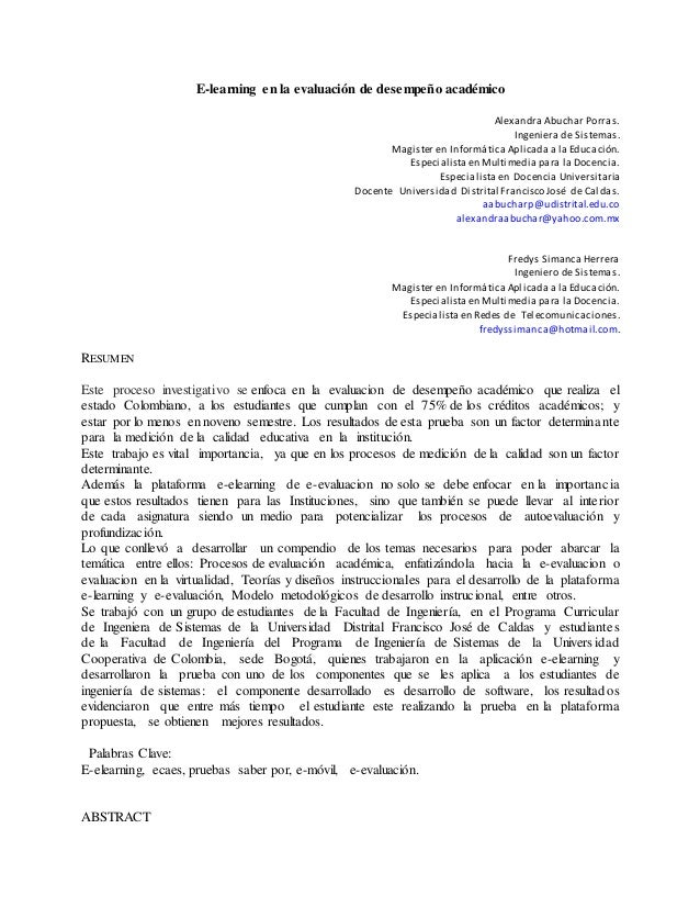 E-learning en la evaluación de desempeño académico Alexandra Abuchar Porras. Ingeniera de Sistemas. Magister en Informátic...