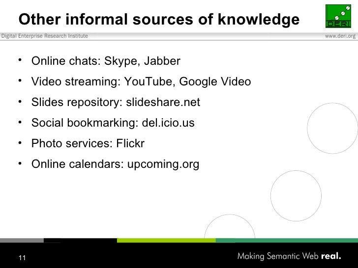 Other informal sources of knowledge <ul><li>Online chats: Skype, Jabber </li></ul><ul><li>Video streaming: YouTube, Google...