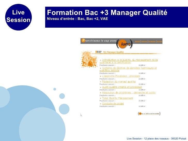 Formation Bac +3 Manager Qualité Niveau d'entrée : Bac, Bac +2, VAE