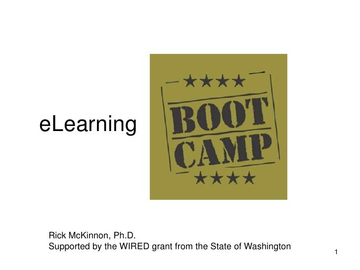 eLearning     Rick McKinnon, Ph.D.  Supported by the WIRED grant from the State of Washington                             ...