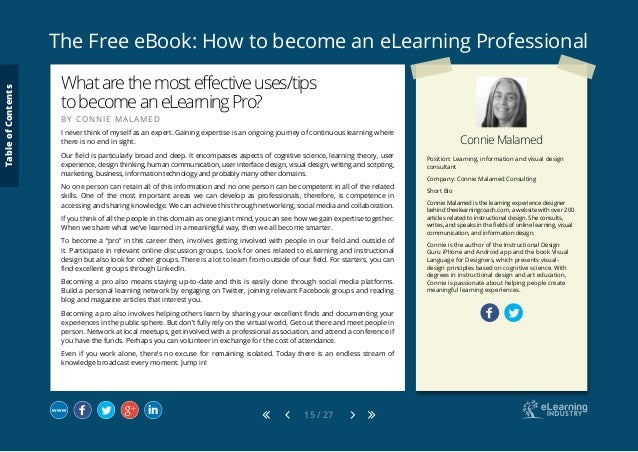 The Free eBook: How to become an eLearning Professional 15 / 27 Connie Malamed Position: Learning, information and visual ...