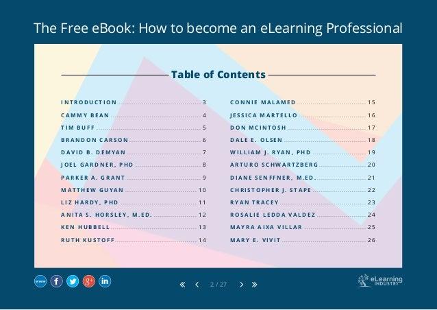 The Free eBook: How to become an eLearning Professional 2 / 27 I N T R O D U C T I O N.. . . . . . . . . . . . . . . . . ....